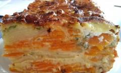 Gâteau de carottes et pommes de terre au chèvre frais, zestes d'orange et cumin